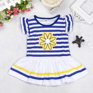 Baby Girl Striped Flower Short Sleeve + Solid