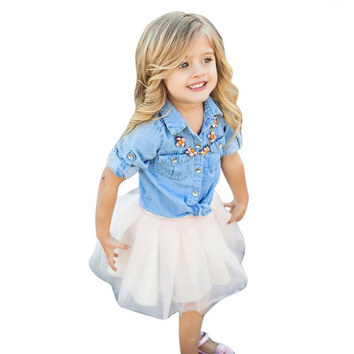 Baby Girls Denim Long Sleeve Top Lace Short Skirt