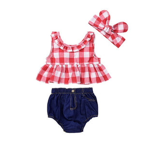 Baby Girls Sleeveless Red Plaid Shirt + Denim