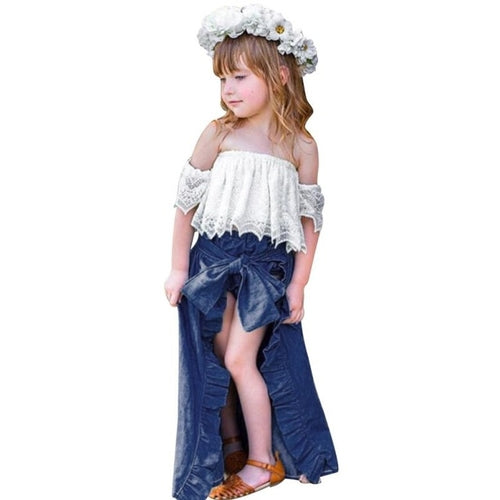 Childrens sets 3 pcs Toddler Girls Solid Ruffles