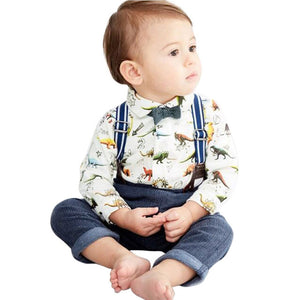Cute Toddler Baby Boys Dinosaur Gentleman Bowtie