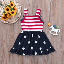 Load image into Gallery viewer, Lovely little girls Dress Star Print 4th Of July