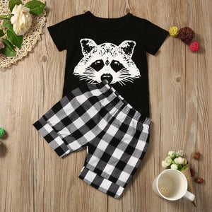 New summer children's suit boy fox head plaid