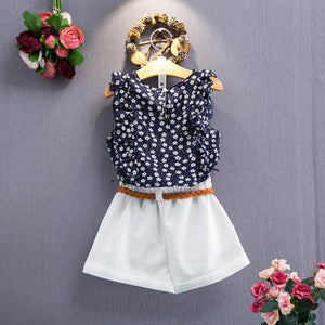 New summer children's suit girls floral sleeveless