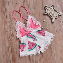 Load image into Gallery viewer, Newborn Baby Watermelon Print Strap Jumpsuit