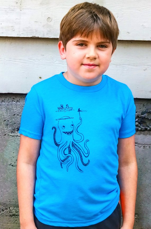 Kids Funny Octopus Shirt for Boys or Girls