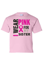 Load image into Gallery viewer, Kids Tee I Wear Pink For My Sister Short Sleeve
