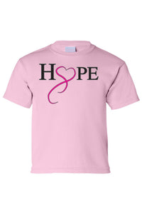 Kids Tee Hope & Love Breast Cancer Awareness Short