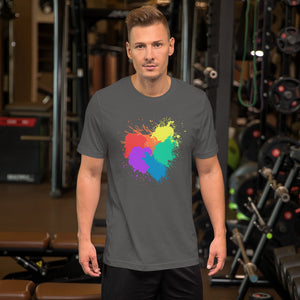 Mens Ally Rainbow Heart Short-Sleeve Unisex T-Shirt