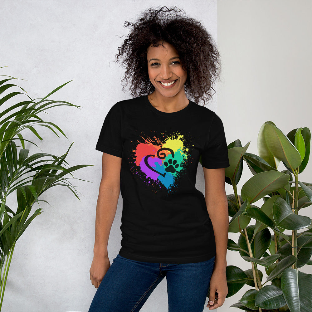 DecoExchange Woens Ally Rainbow Heart Short-Sleeve Unisex T-Shirt