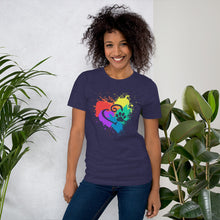 Load image into Gallery viewer, DecoExchange Woens Ally Rainbow Heart Short-Sleeve Unisex T-Shirt