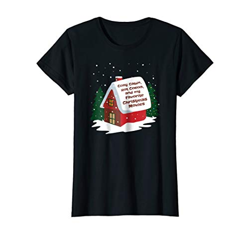 Cozy Cabin Christmas Movies T-Shirt for Women