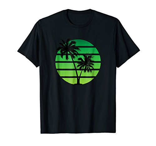 Retro Synthwave Style Sunset T-Shirt - Green