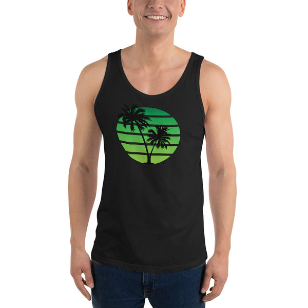 Retro Synthwave Style Sunset Tank Top - Green