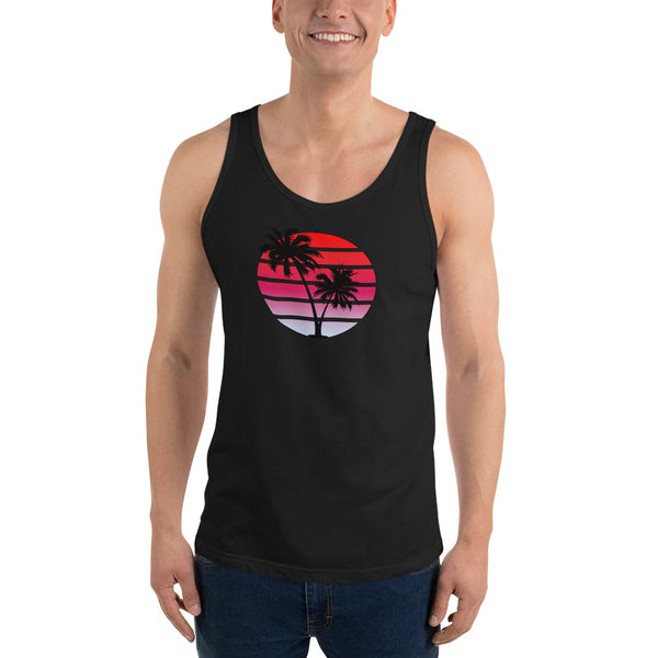 Retro Synthwave Style Sunset Tank Top - Red