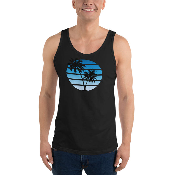 Retro Synthwave Style Sunset Tank Top - Blue