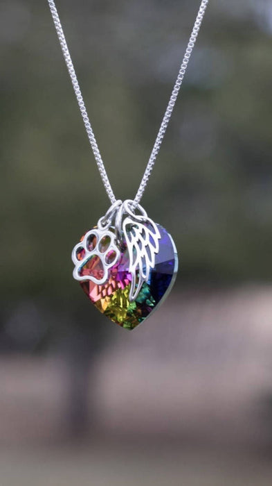 Rainbow Bridge Pet Loss Necklace Pet Loss Gift Memorial Jewelry - purepawsco