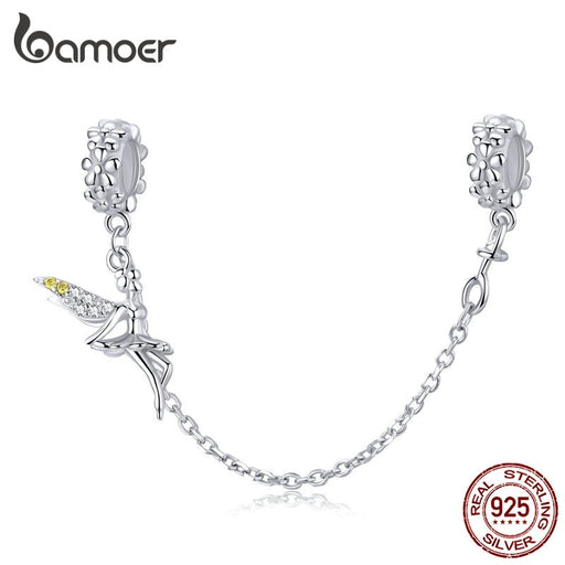 Tinker Fairy Elf Safety Chain Charm Silicone Fit Bracelet Sterling Silver Jewelry - purepawsco