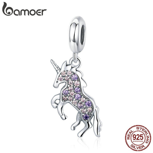 Unicorn Pendant Colorful CZ Sterling Silver Charm Bead Pendent Jewelry - purepawsco