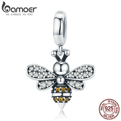 Honey Bee Silver Crystal Charm Bead Pendent Jewelry - purepawsco