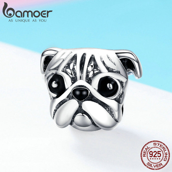 Pug Dog Head Charm Bead Pendent Jewelry - purepawsco