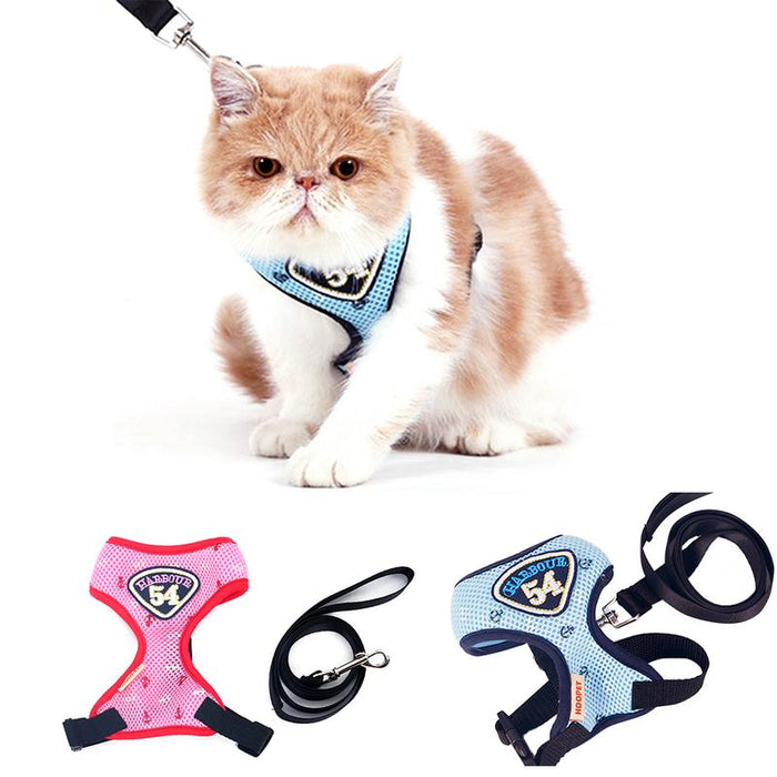 Pet Cat Vest Harness Leashes Suit Navy Blue Harness Pet Cat Puppy Cute Pet Small Pet - purepawsco