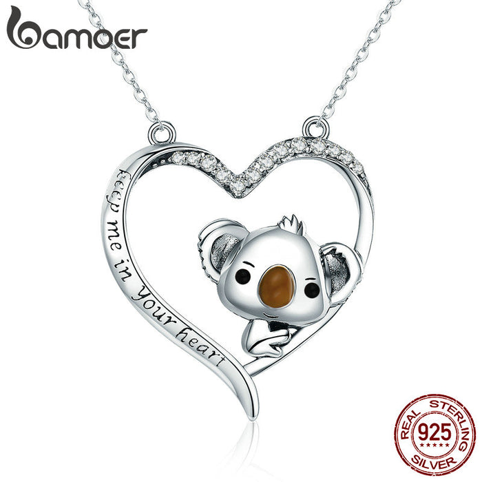 Save The Forest Koala in Heart Pendant Necklaces Sterling Silver Jewelry - purepawsco