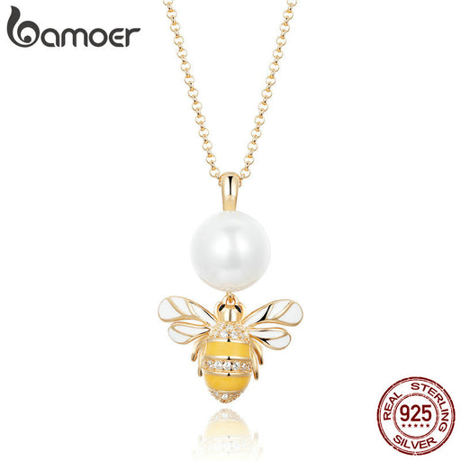 Bee Sterling Silver Freshwater Pearl Pendant Necklaces Jewelry - purepawsco