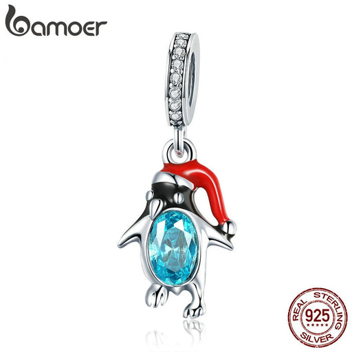 Sterling Silver Christmas Penguin Pendant Charm Women Bracelets Necklace - purepawsco