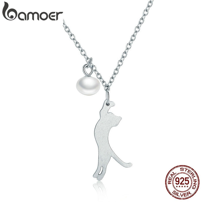 Naughty Kitten Cat Pendant Necklaces Sterling Silver Jewelry - purepawsco