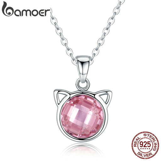 Pink October Cute Cat Pendant Necklaces Pink Zircon Jewelry - purepawsco