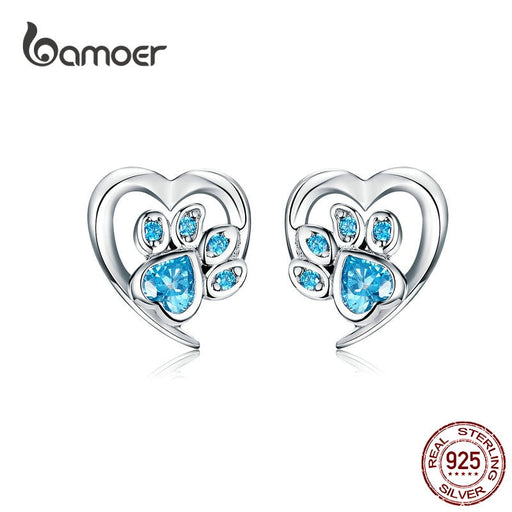 Paw Heart Shape CZ Footprint Ear Studs Jewelry - purepawsco