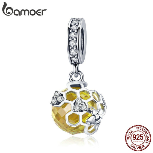 Honeycomb Bee Pendant Yellow Charm Bracelet DIY Jewelry - purepawsco