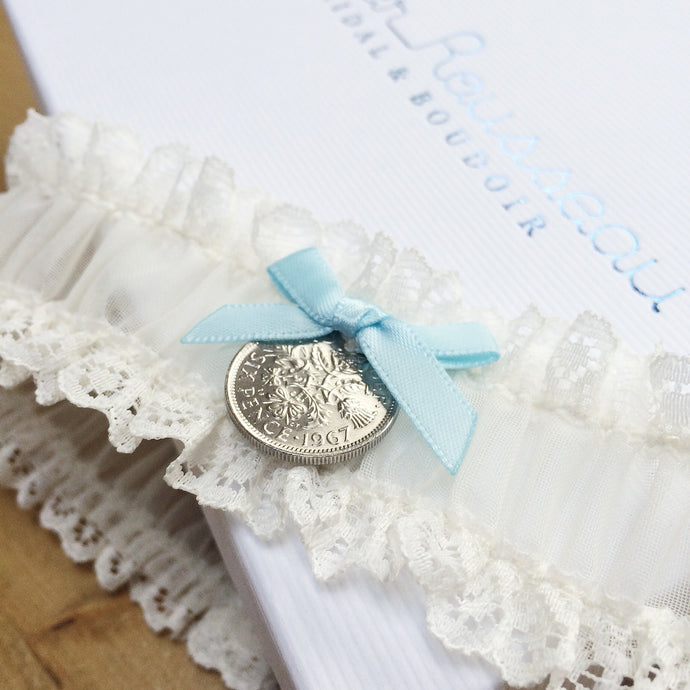 Lucky Sixpence Ivory Lace Wedding Garter