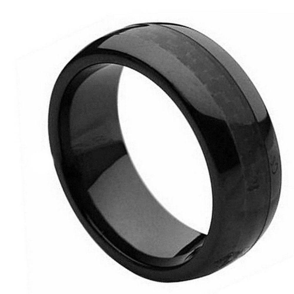 Ceramic Ring with Black Carbon Fiber Inlay - 8mm