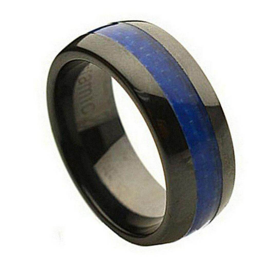 Domed Black Ceramic Ring with Blue Carbon Fiber Inlay - 8mm