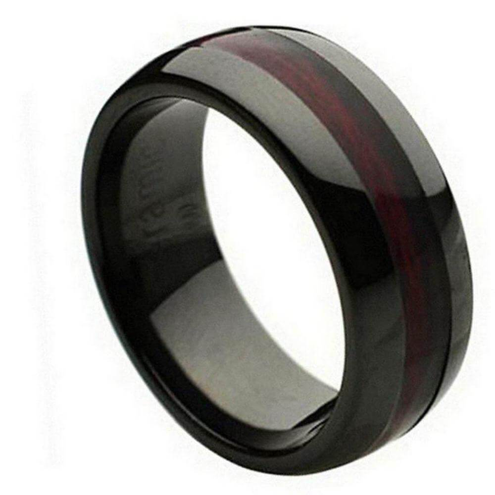 Domed Black Ceramic Ring with Burgundy Wood Laminate Inlay - 8mm