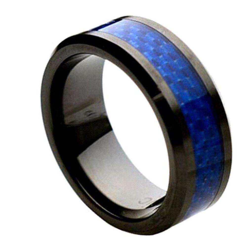Beveled Edge Black Ceramic Ring with Blue Carbon Fiber Inlay - 8mm