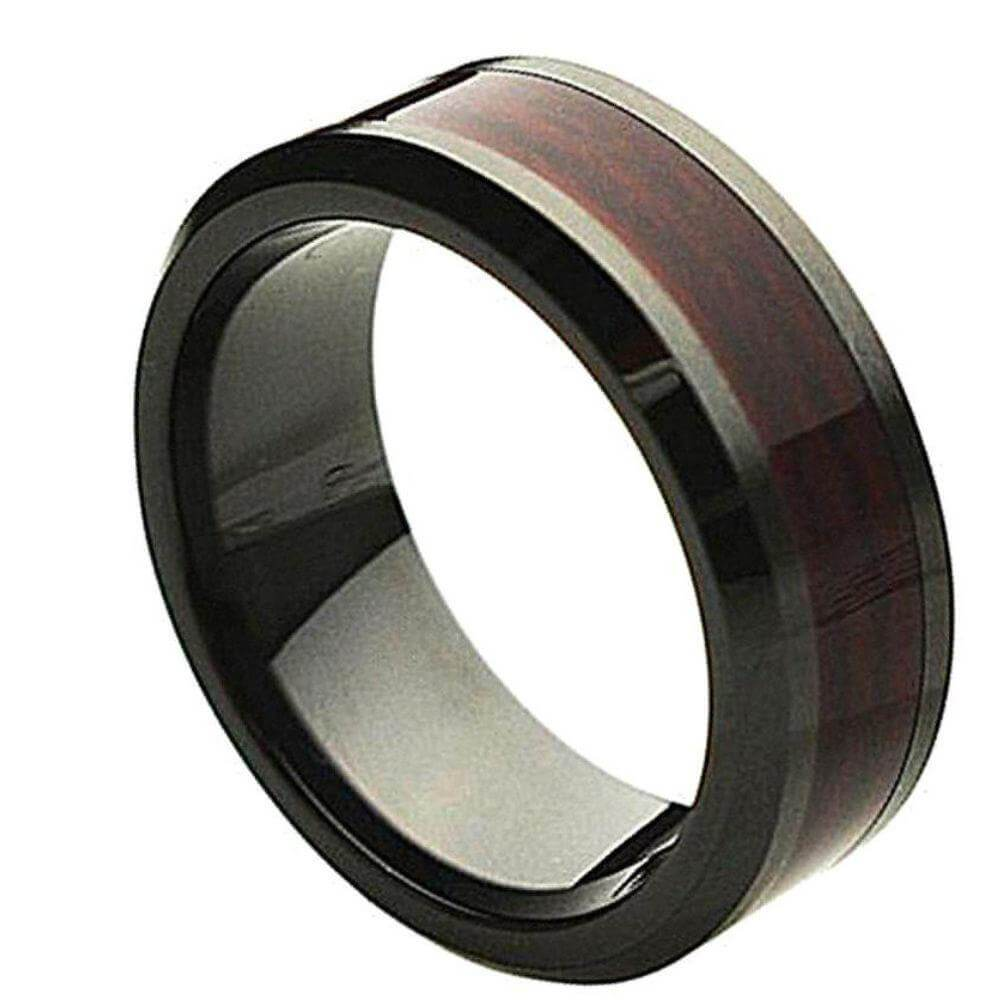 Beveled Edge Black Ceramic Ring with Burgundy Wood Laminate Inlay - 8mm