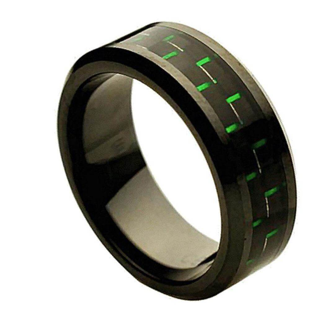 Ceramic Ring with Green & Black Carbon Fiber Inlay - 8mm