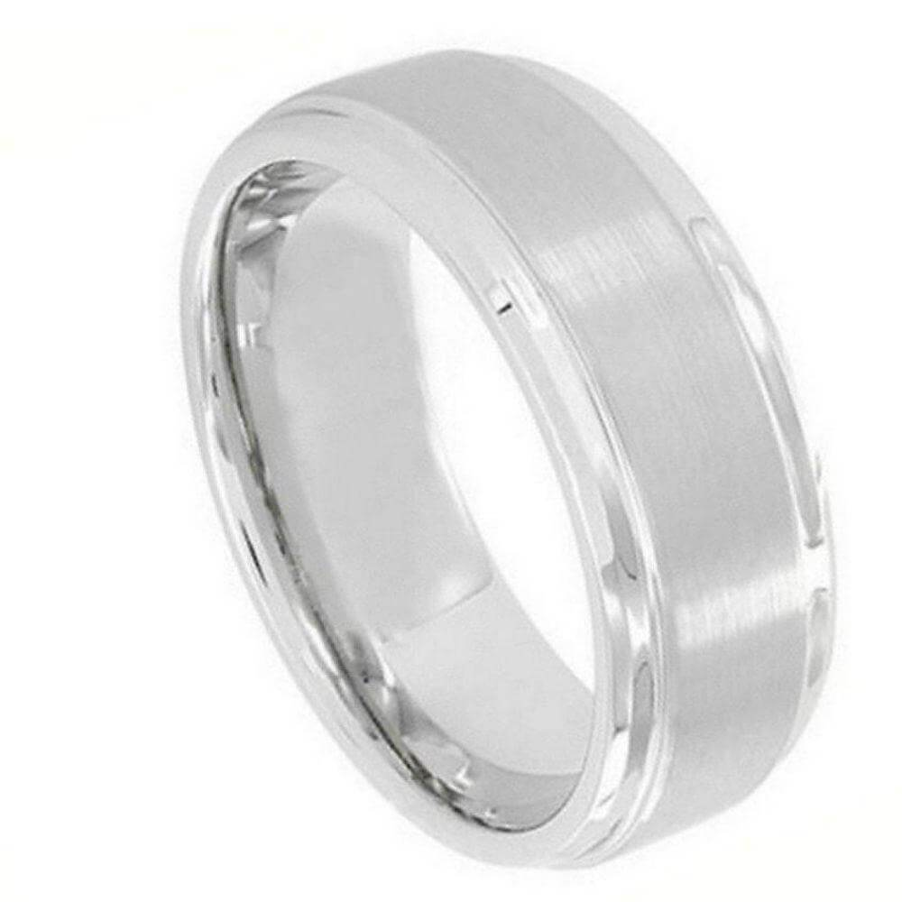 Cobalt Ring Flat Brushed Center Polished Shiny Edge - 9mm