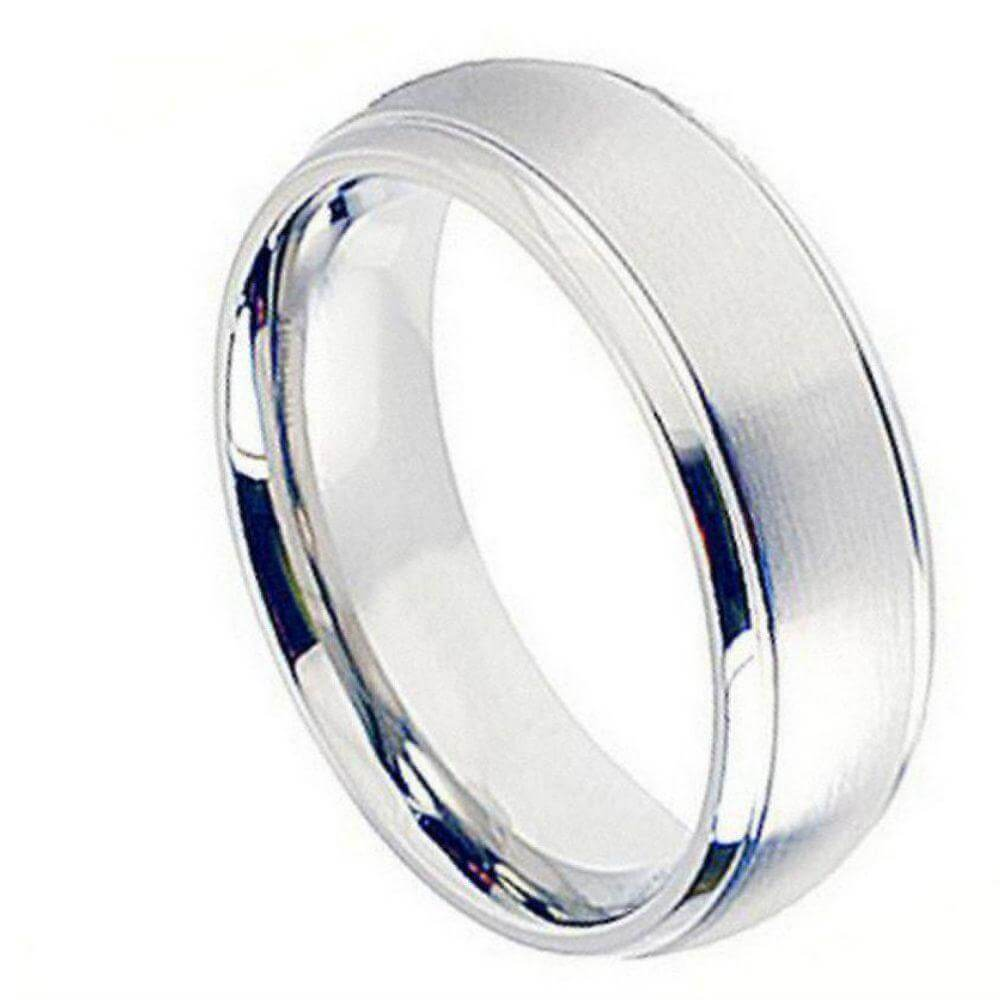 Cobalt Ring Brushed Center Shiny Grooved Edge - 8mm