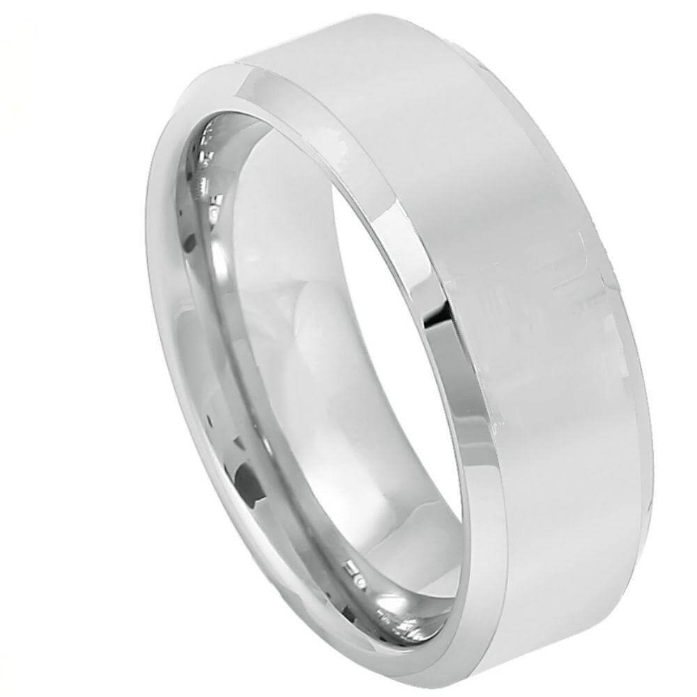 Cobalt Ring Brushed Center Shiny Beveled Edge - 8mm