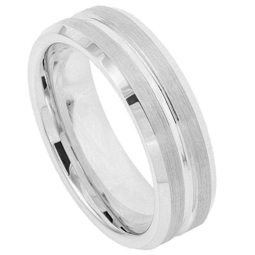 Cobalt Ring High Polish Beveled Edge, Brushed Grooved Center - 7mm