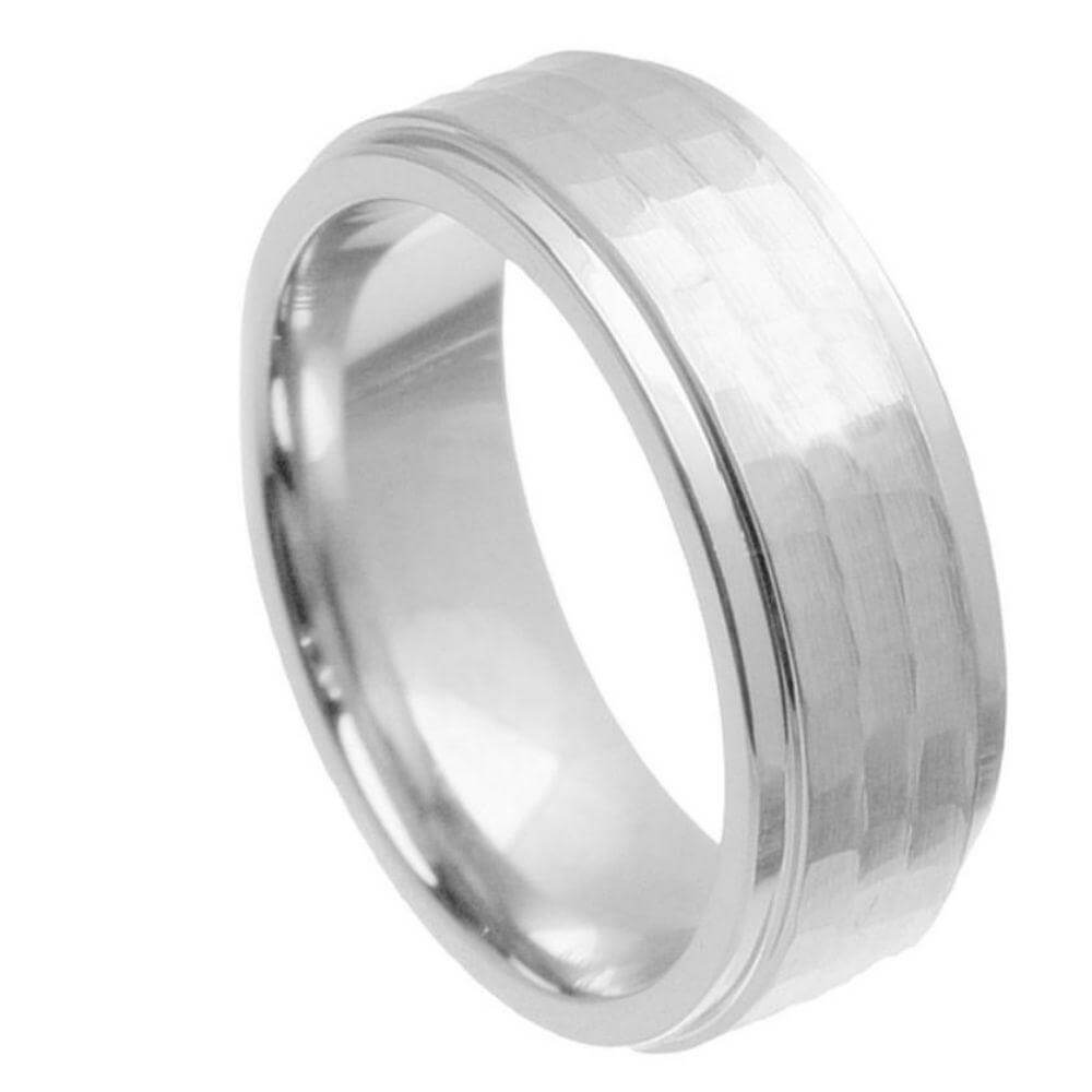 Cobalt Ring Stepped Down Edge Hammered Center - 9mm