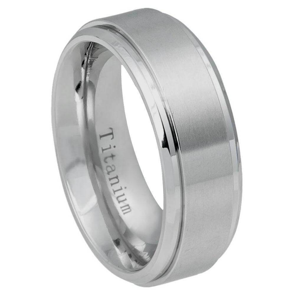 Titanium Ring Flat Brushed Center Polished Shiny Edge - 8mm