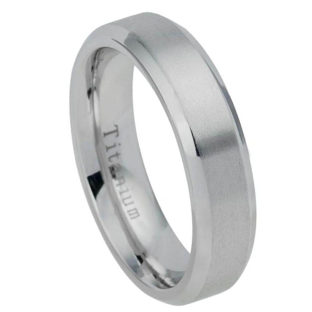 Titanium Ring Brushed Center Beveled Edge
