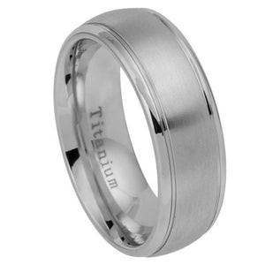 Titanium Ring Brushed Center Shiny Grooved Edge - 8mm