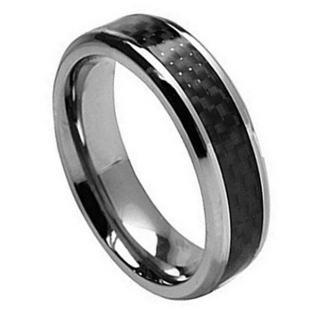 Titanium Ring with Black Carbon Fiber Inlay - 7mm