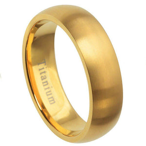 Titanium Ring Yellow Gold Plated - 7mm